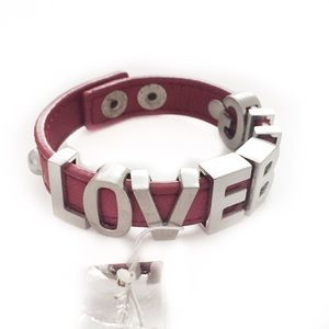 BCBGENERATION CUFF BRACELET RED LEATHER SILVER